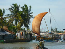 Traditional wind-powered shrimp trawler, Sri Lanka